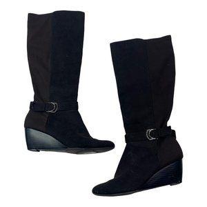 Dana Buchman Black Faux Suede Wedge Heeled Knee High Boots Size 8 Women's